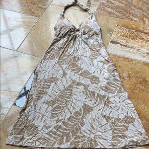 Tommy Bahama palm frond print sundress sand/tan/wh